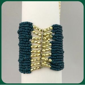 Teal and Gold Beaded Multi Strand Stretch Bracelet